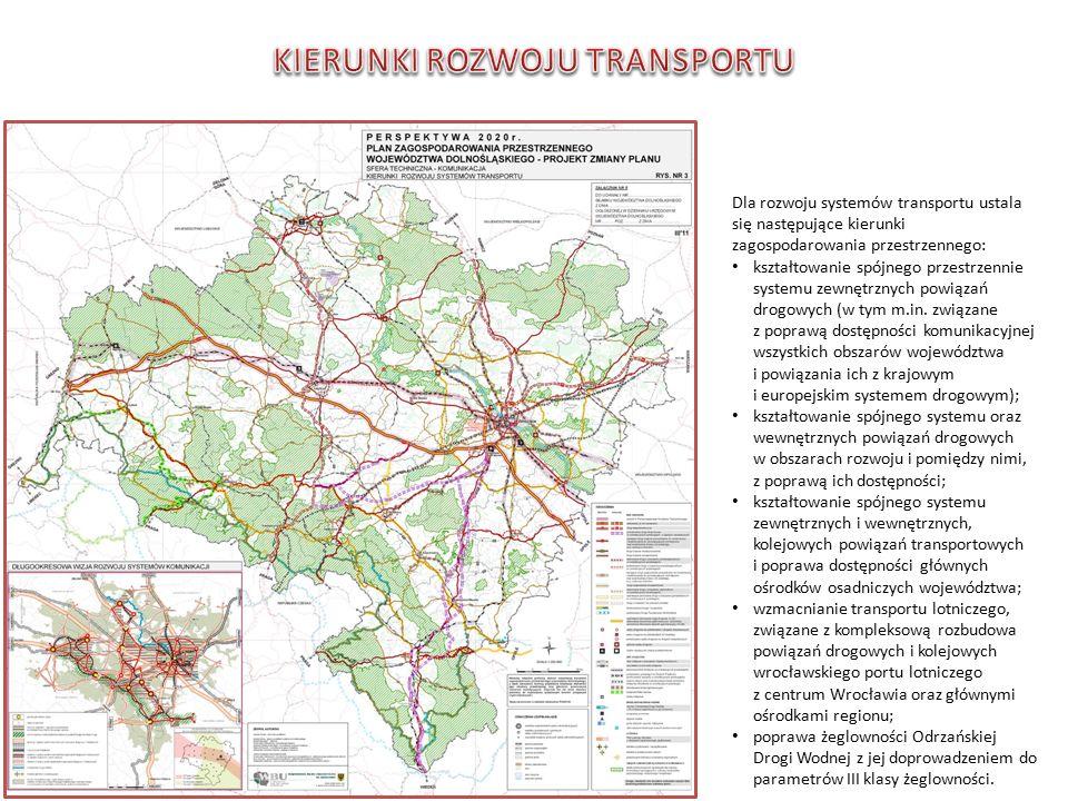 Dla rozwoju systemów transportu ustala się następujące kierunki zagospodarowania przestrzennego: kształtowanie spójnego przestrzennie systemu zewnętrznych powiązań drogowych (w tym m.in.
