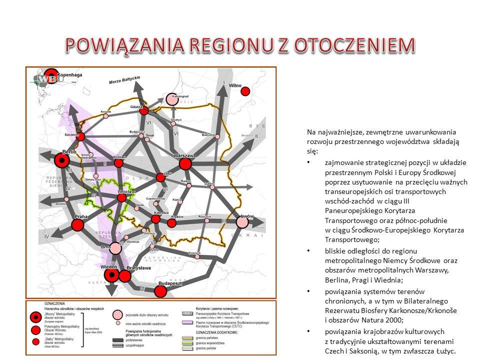 Na najważniejsze, zewnętrzne uwarunkowania rozwoju przestrzennego województwa składają się: zajmowanie strategicznej pozycji w układzie przestrzennym Polski i Europy Środkowej poprzez usytuowanie na przecięciu ważnych transeuropejskich osi transportowych wschód-zachód w ciągu III Paneuropejskiego Korytarza Transportowego oraz północ-południe w ciągu Środkowo-Europejskiego Korytarza Transportowego; bliskie odległości do regionu metropolitalnego Niemcy Środkowe oraz obszarów metropolitalnych Warszawy, Berlina, Pragi i Wiednia; powiązania systemów terenów chronionych, a w tym w Bilateralnego Rezerwatu Biosfery Karkonosze/Krkonoše i obszarów Natura 2000; powiązania krajobrazów kulturowych z tradycyjnie ukształtowanymi terenami Czech i Saksonią, w tym zwłaszcza Łużyc.