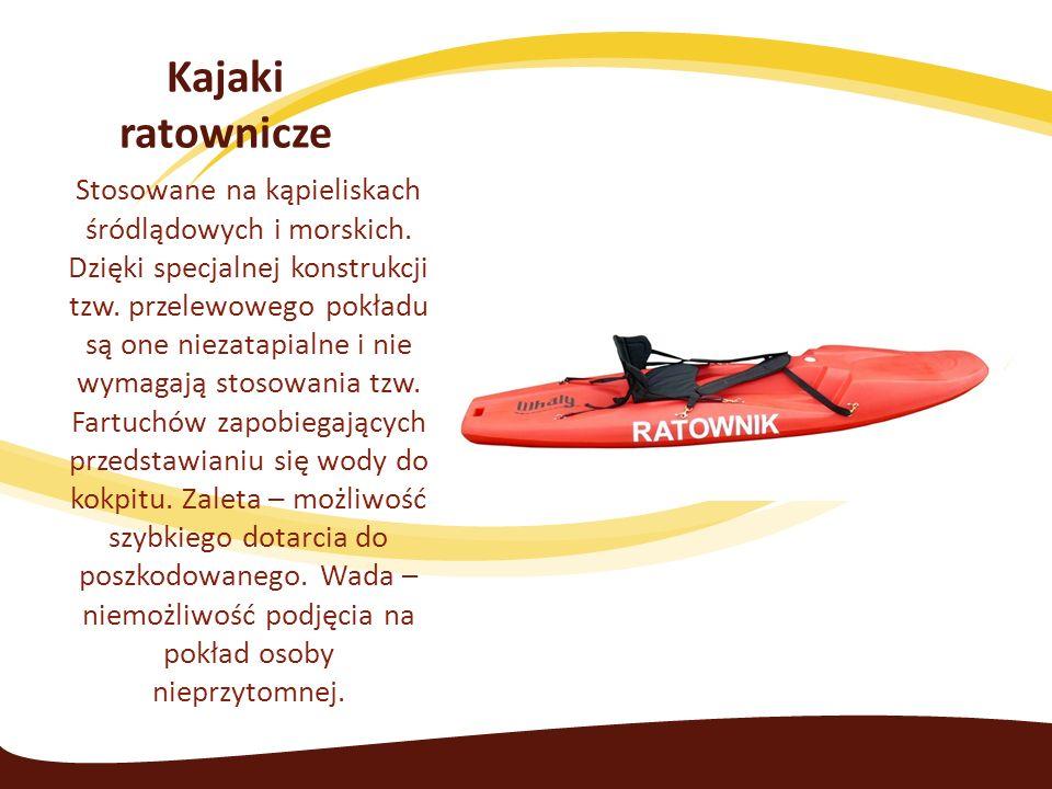Kajaki ratownicze Stosowane na kąpieliskach śródlądowych i morskich.