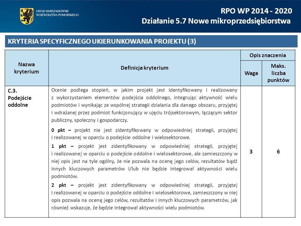 RPO WP 2014 - 2020 Działanie 5.7 Nowe mikroprzedsiębiorstwa KRYTERIA SPECYFICZNEGO UKIERUNKOWANIA PROJEKTU (3) Nazwa kryterium Definicja kryterium Opis znaczenia Waga Maks.