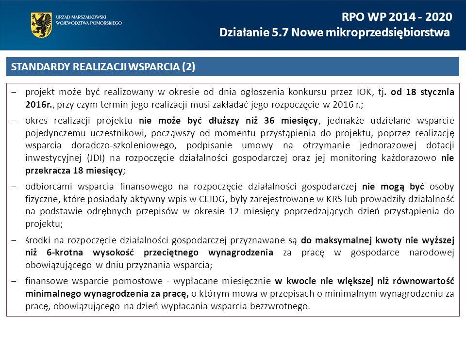 Podstawowe obowiązki beneficjenta: -opracowanie wniosku o dofinansowanie projektu; -sporządzenie dokumentacji związanej z rekrutacją uczestników oraz procedurą przyznawania wsparcia finansowego i wsparcia szkoleniowo – doradczego (podlegającej zatwierdzeniu przez IZ RPO WP przed podaniem jej do publicznej wiadomości); -rekrutacja uczestników; -realizacja wsparcia doradczo-szkoleniowego; -podział środków finansowych na rozpoczęcie działalności gospodarczej oraz wsparcia pomostowego pomiędzy uczestników projektu; -monitorowanie prawidłowości wydatkowania środków finansowych na rozpoczęcie działalności gospodarczej przyznanych uczestnikowi projektu w okresie 12 miesięcy od dnia rozpoczęcia działalności gospodarczej.