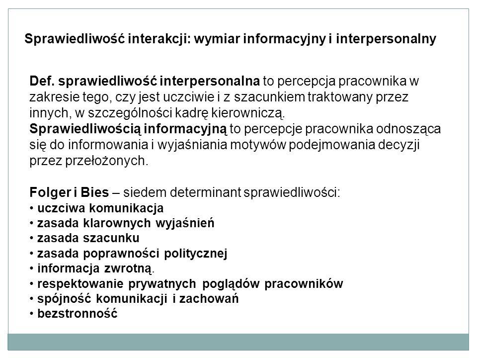 Sprawiedliwość interakcji: wymiar informacyjny i interpersonalny Def.