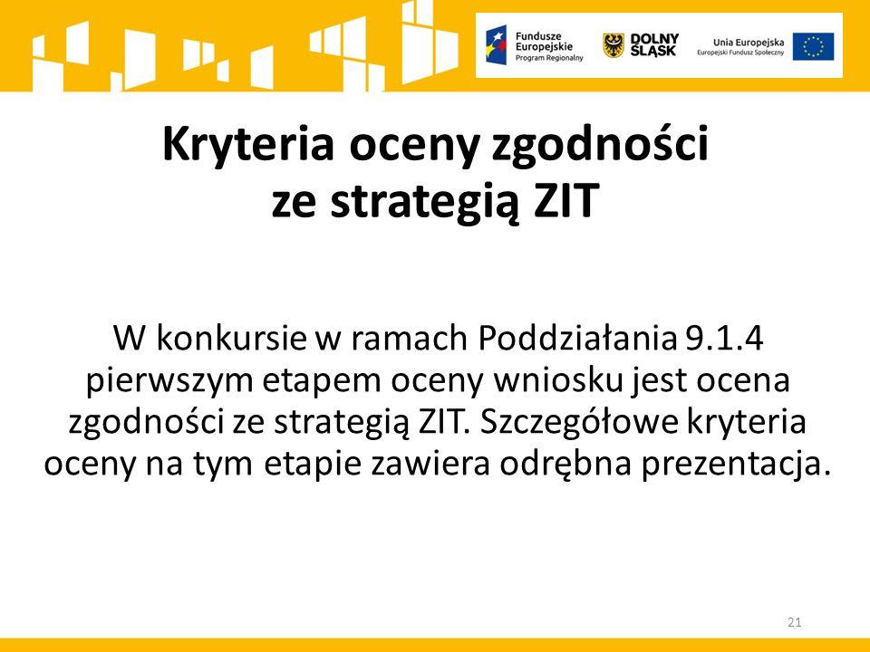 W konkursie w ramach Poddziałania 9.1.4 pierwszym etapem oceny wniosku jest ocena zgodności ze strategią ZIT.