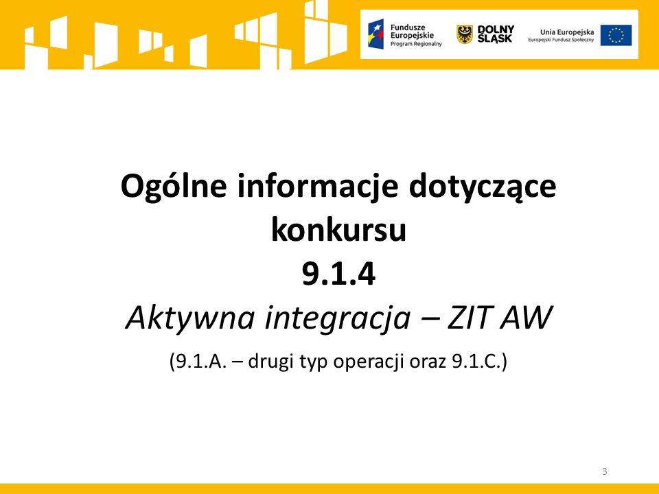 Ogólne informacje dotyczące konkursu 9.1.4 Aktywna integracja – ZIT AW (9.1.A.