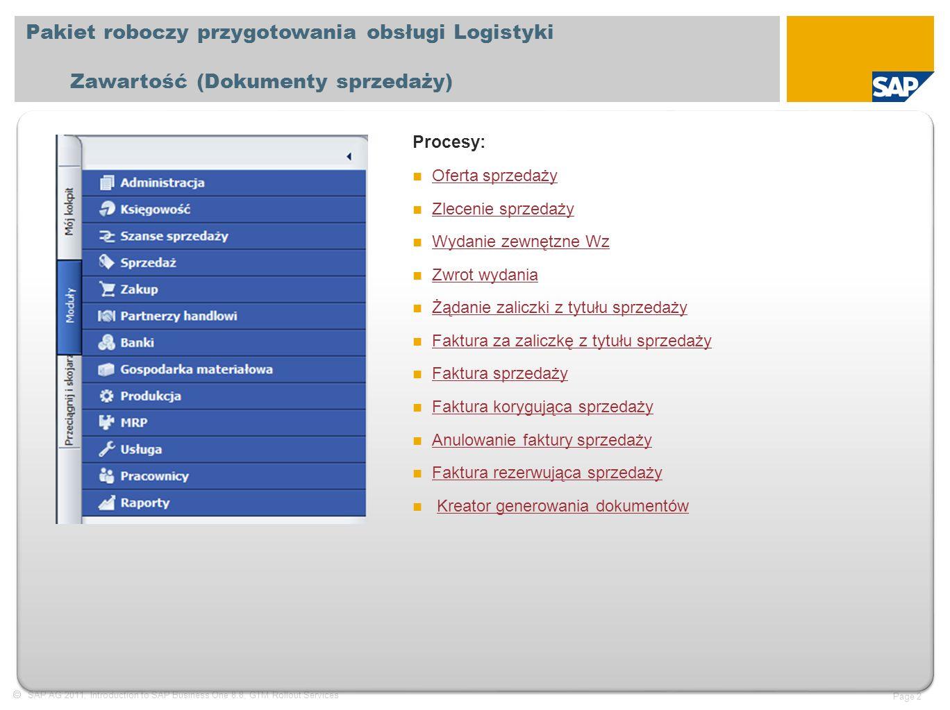  SAP AG 2011, Introduction to SAP Business One 8.8, GTM Rollout Services Page 2 Pakiet roboczy przygotowania obsługi Logistyki Zawartość (Dokumenty sprzedaży) Procesy: Oferta sprzedaży Zlecenie sprzedaży Wydanie zewnętzne Wz Zwrot wydania Żądanie zaliczki z tytułu sprzedaży Faktura za zaliczkę z tytułu sprzedaży Faktura sprzedaży Faktura korygująca sprzedaży Anulowanie faktury sprzedaży Faktura rezerwująca sprzedaży Kreator generowania dokumentów