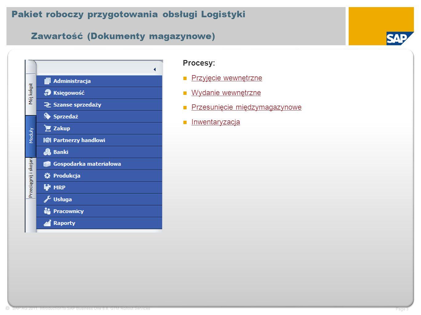  SAP AG 2011, Introduction to SAP Business One 8.8, GTM Rollout Services Page 3 Pakiet roboczy przygotowania obsługi Logistyki Zawartość (Dokumenty magazynowe) Procesy: Przyjęcie wewnętrzne Wydanie wewnętrzne Przesunięcie międzymagazynowe Inwentaryzacja