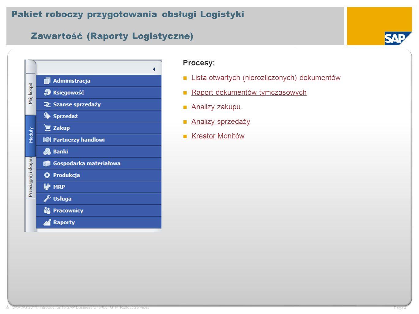  SAP AG 2011, Introduction to SAP Business One 8.8, GTM Rollout Services Page 4 Pakiet roboczy przygotowania obsługi Logistyki Zawartość (Raporty Logistyczne) Procesy: Lista otwartych (nierozliczonych) dokumentów Lista otwartych (nierozliczonych) dokumentów Raport dokumentów tymczasowych Analizy zakupu Analizy sprzedaży Kreator Monitów Kreator Monitów
