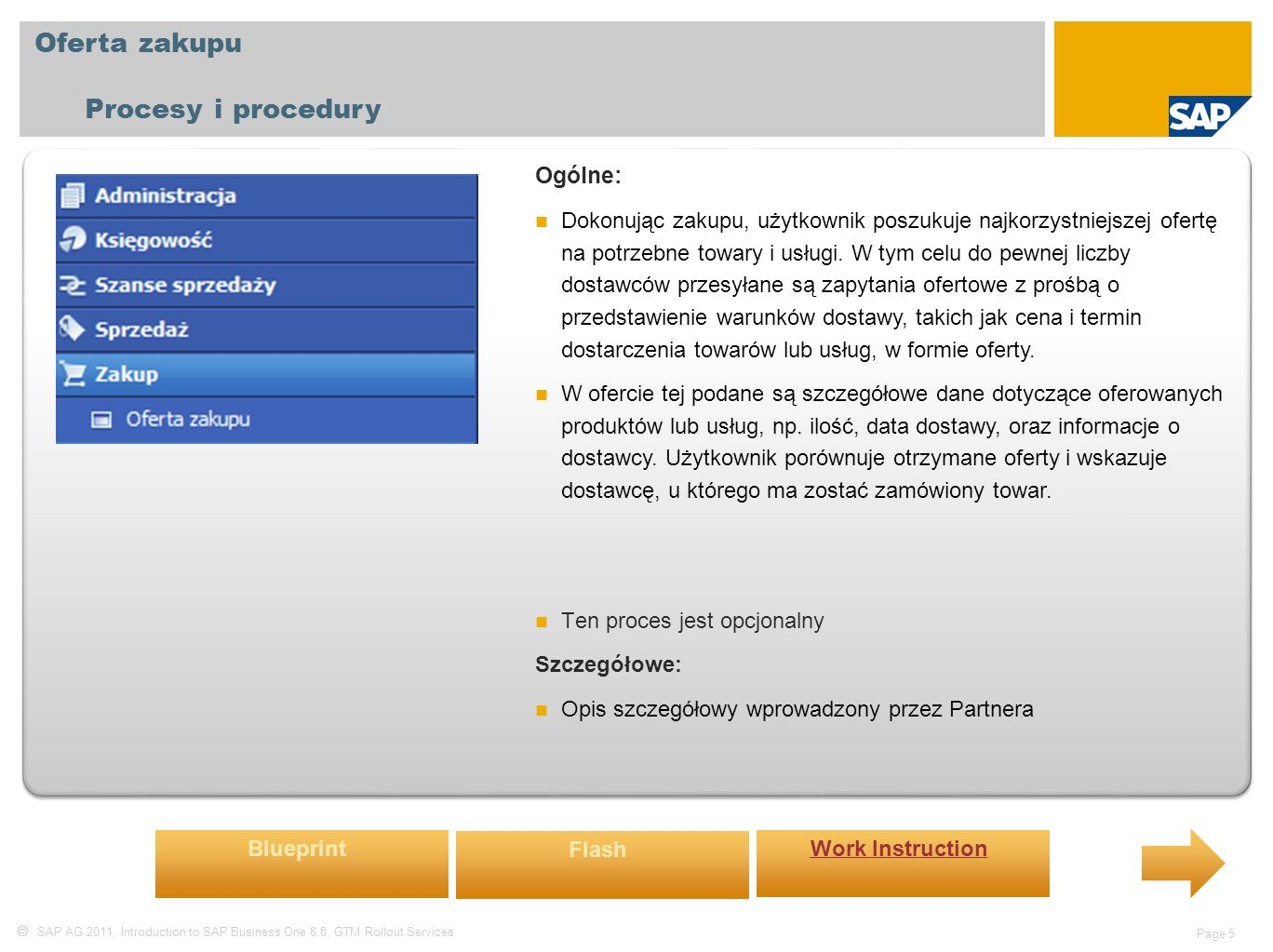  SAP AG 2011, Introduction to SAP Business One 8.8, GTM Rollout Services Page 5 Oferta zakupu Procesy i procedury Ogólne: Dokonując zakupu, użytkownik poszukuje najkorzystniejszej ofertę na potrzebne towary i usługi.