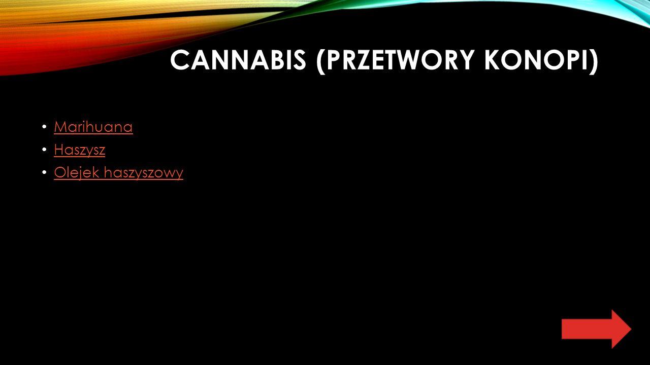 CANNABIS (PRZETWORY KONOPI) Marihuana Haszysz Olejek haszyszowy