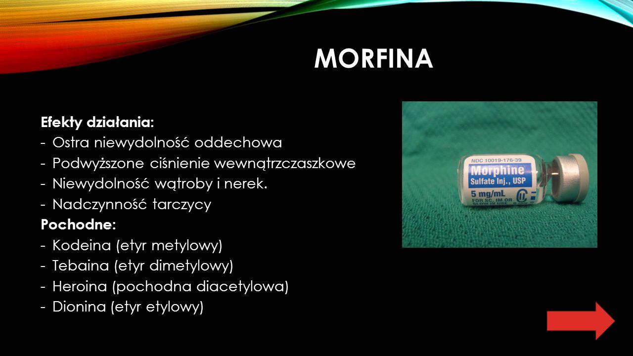 MORFINA Efekty działania: -Ostra niewydolność oddechowa -Podwyższone ciśnienie wewnątrzczaszkowe -Niewydolność wątroby i nerek.