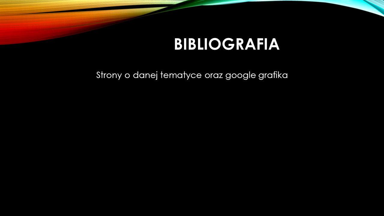 BIBLIOGRAFIA Strony o danej tematyce oraz google grafika