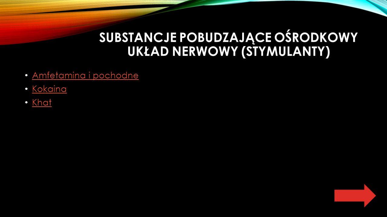 SUBSTANCJE POBUDZAJĄCE OŚRODKOWY UKŁAD NERWOWY (STYMULANTY) Amfetamina i pochodne Kokaina Khat