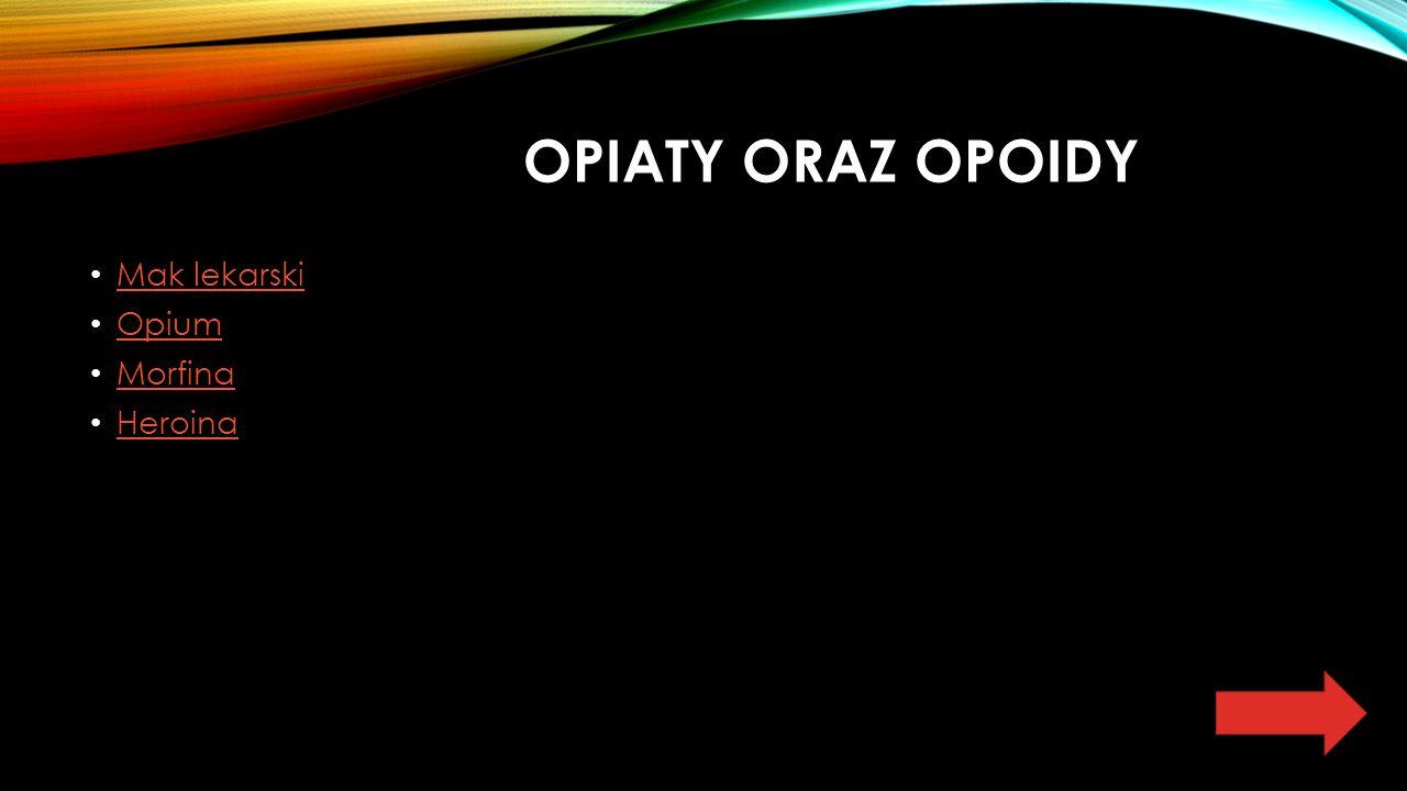 OPIATY ORAZ OPOIDY Mak lekarski Opium Morfina Heroina