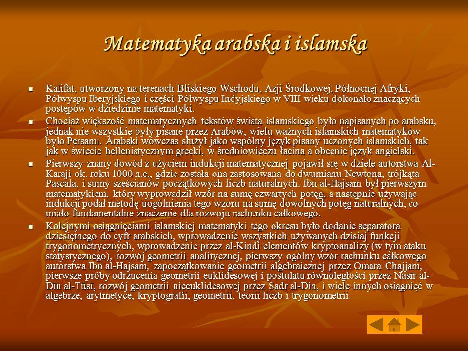 Matematyka arabska i islamska Kalifat, utworzony na terenach Bliskiego Wschodu, Azji Środkowej, Północnej Afryki, Półwyspu Iberyjskiego i części Półwyspu Indyjskiego w VIII wieku dokonało znaczących postępów w dziedzinie matematyki.