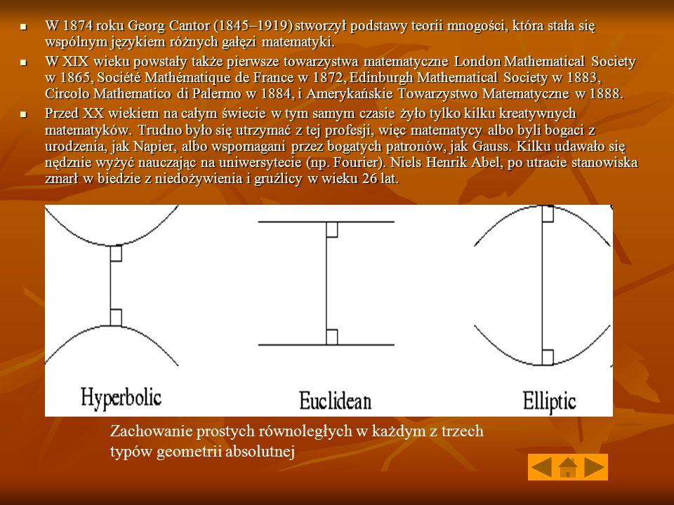 W 1874 roku Georg Cantor (1845–1919) stworzył podstawy teorii mnogości, która stała się wspólnym językiem różnych gałęzi matematyki. W 1874 roku Georg