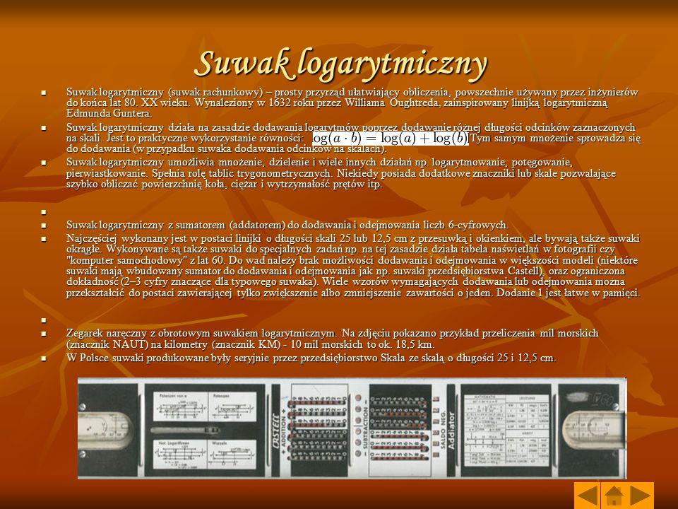 Suwak logarytmiczny Suwak logarytmiczny (suwak rachunkowy) – prosty przyrząd ułatwiający obliczenia, powszechnie używany przez inżynierów do końca lat