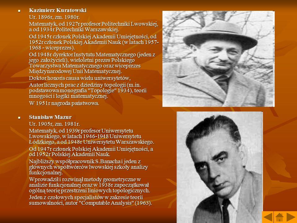 Kazimierz Kuratowski Kazimierz Kuratowski Ur. 1896r, zm. 1980r. Matematyk, od 1927r profesor Politechniki Lwowskiej, a od 1934r Politechniki Warszawsk