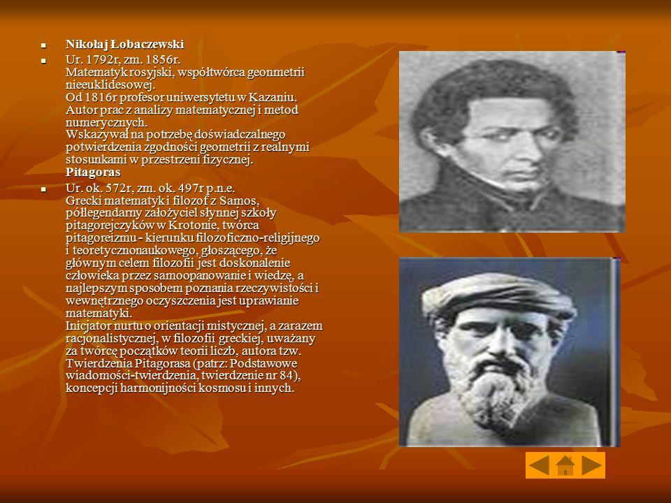 Nikołaj Łobaczewski Nikołaj Łobaczewski Ur. 1792r, zm. 1856r. Matematyk rosyjski, współtwórca geonmetrii nieeuklidesowej. Od 1816r profesor uniwersyte
