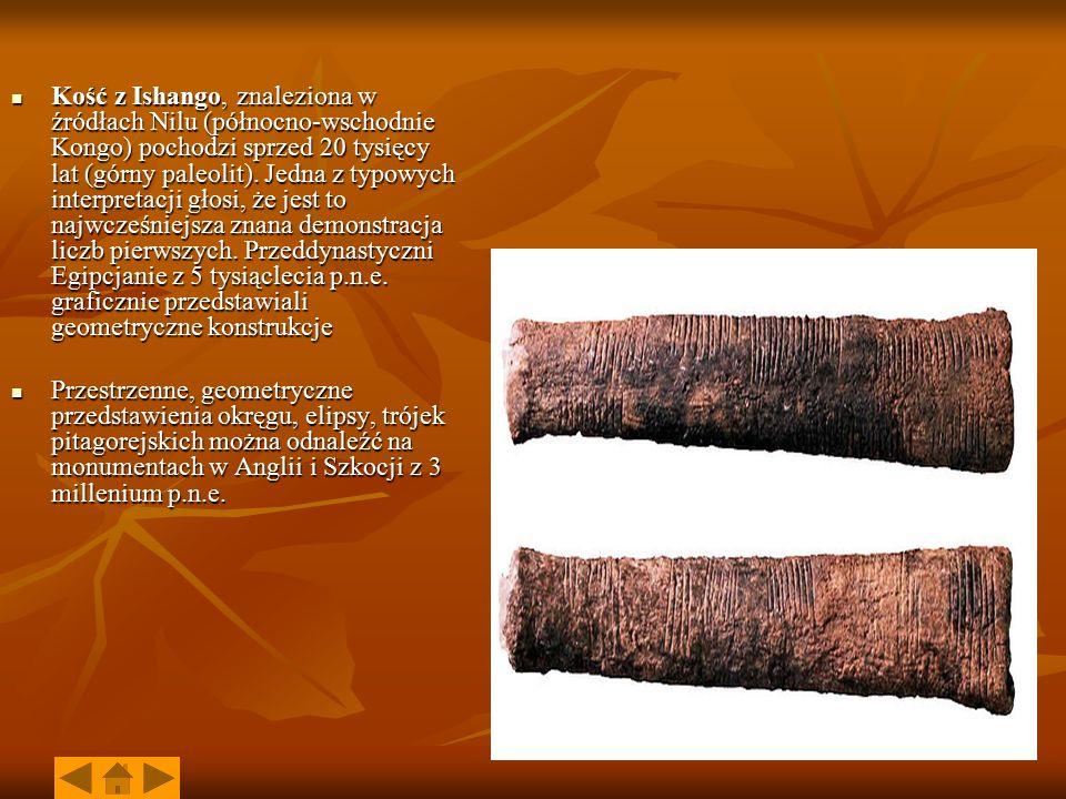 Kość z Ishango, znaleziona w źródłach Nilu (północno-wschodnie Kongo) pochodzi sprzed 20 tysięcy lat (górny paleolit). Jedna z typowych interpretacji