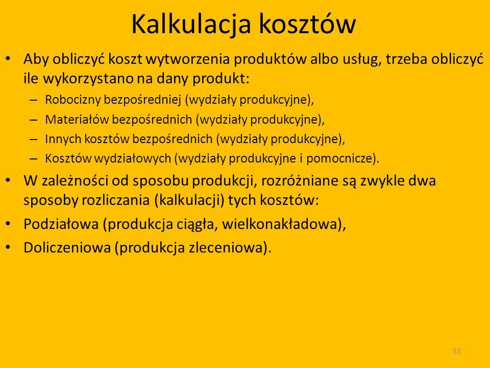 Kalkulacja kosztów Aby obliczyć koszt wytworzenia produktów albo usług, trzeba obliczyć ile wykorzystano na dany produkt: – Robocizny bezpośredniej (wydziały produkcyjne), – Materiałów bezpośrednich (wydziały produkcyjne), – Innych kosztów bezpośrednich (wydziały produkcyjne), – Kosztów wydziałowych (wydziały produkcyjne i pomocnicze).