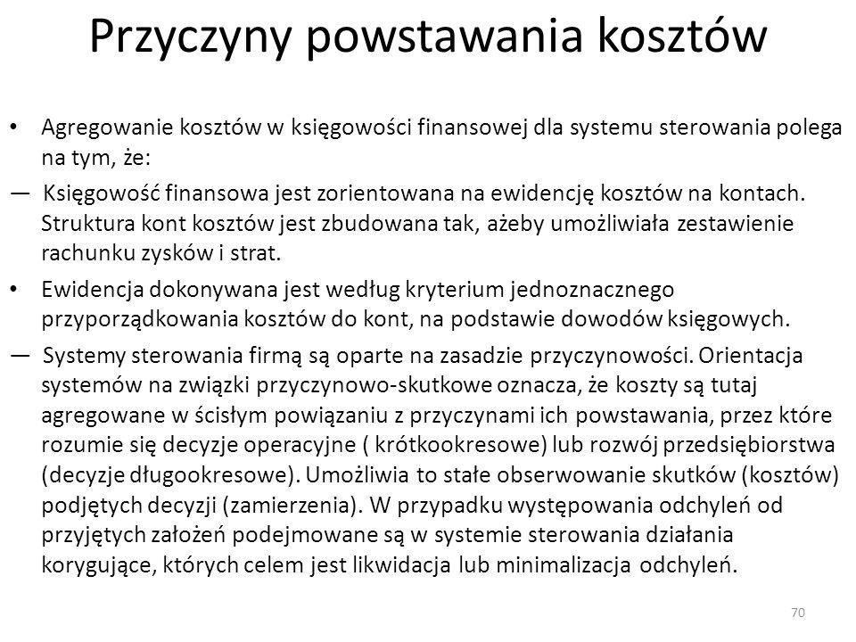 Przyczyny powstawania kosztów Agregowanie kosztów w księgowości finansowej dla systemu sterowania polega na tym, że: — Księgowość finansowa jest zorientowana na ewidencję kosztów na kontach.