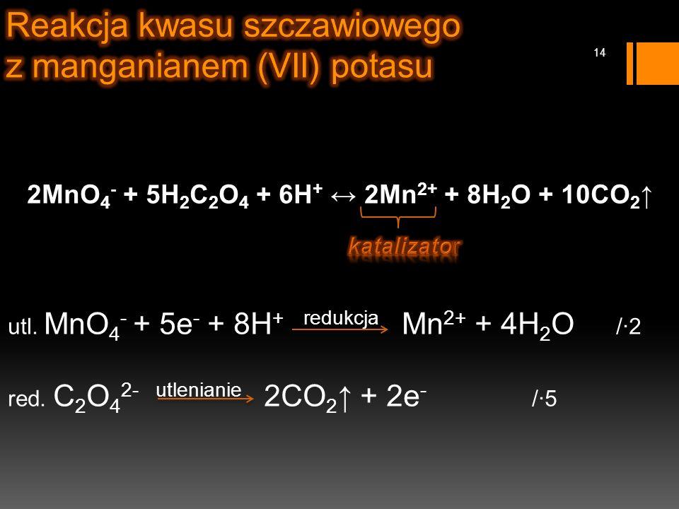 2MnO 4 - + 5H 2 C 2 O 4 + 6H + ↔ 2Mn 2+ + 8H 2 O + 10CO 2 ↑ utl.