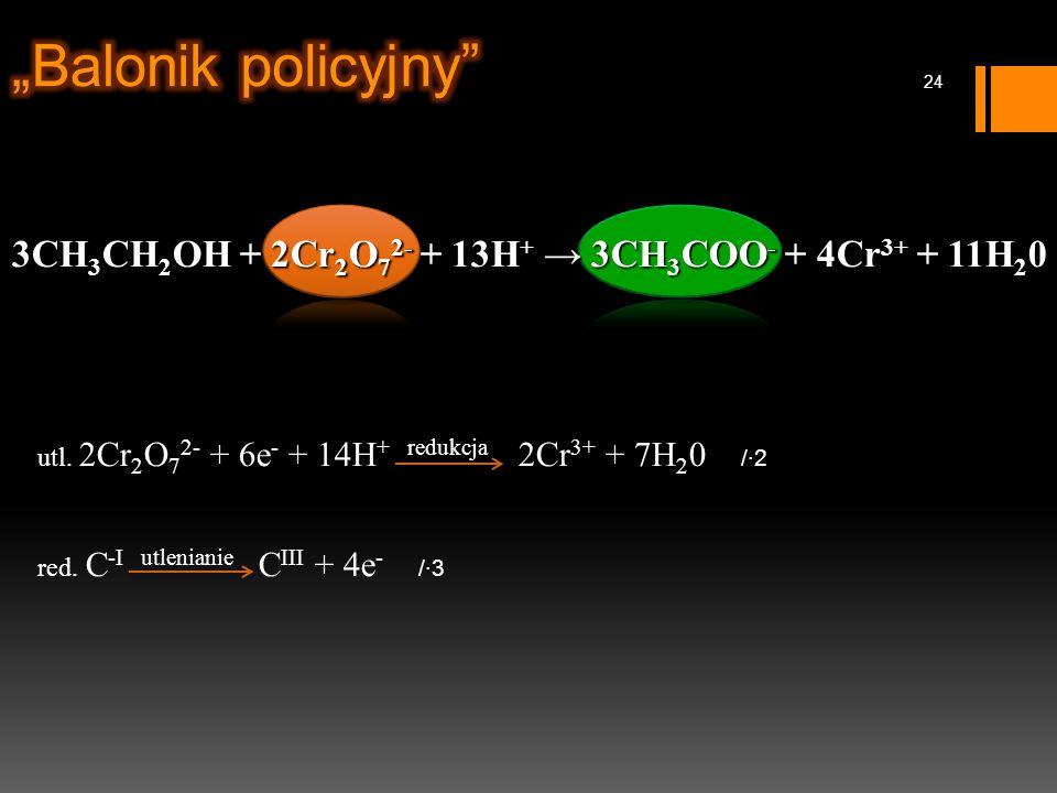3CH 3 CH 2 OH + 2Cr 2 O 7 2- + 13H + → 3CH 3 COO - + 4Cr 3+ + 11H 2 0 utl.