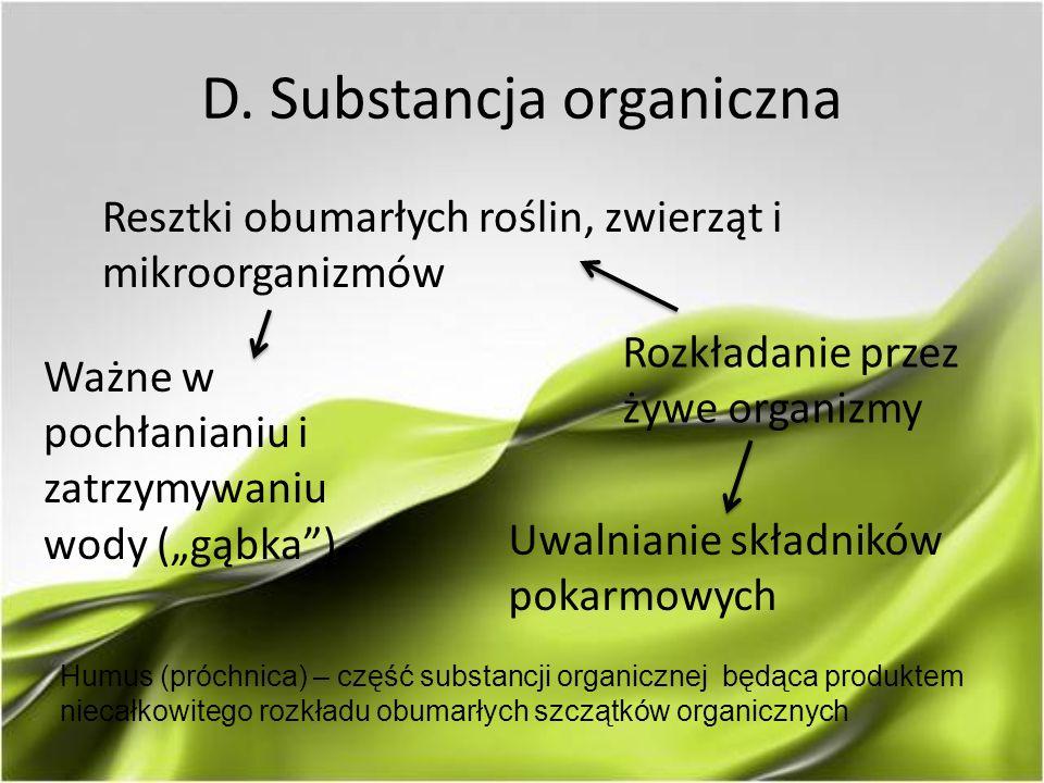 """D. Substancja organiczna Resztki obumarłych roślin, zwierząt i mikroorganizmów Ważne w pochłanianiu i zatrzymywaniu wody (""""gąbka"""") Rozkładanie przez ż"""