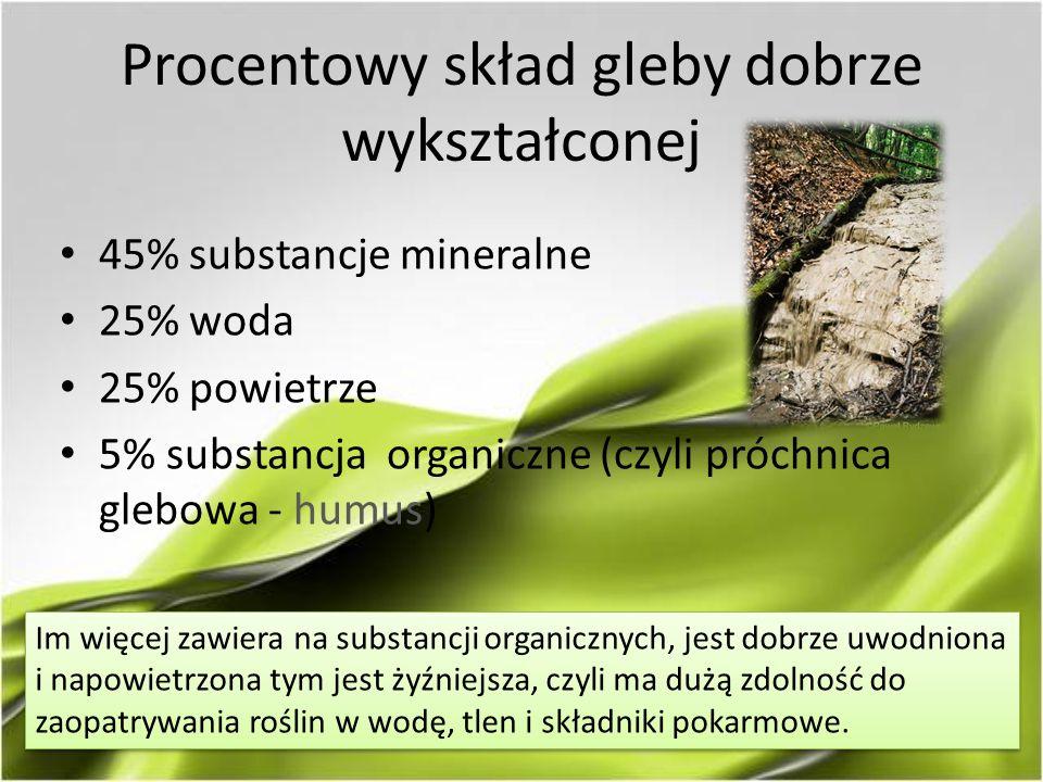Procentowy skład gleby dobrze wykształconej 45% substancje mineralne 25% woda 25% powietrze 5% substancja organiczne (czyli próchnica glebowa - humus) Im więcej zawiera na substancji organicznych, jest dobrze uwodniona i napowietrzona tym jest żyźniejsza, czyli ma dużą zdolność do zaopatrywania roślin w wodę, tlen i składniki pokarmowe.