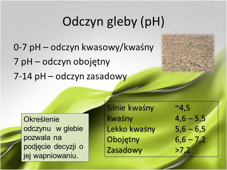 Odczyn gleby (pH) 0-7 pH – odczyn kwasowy/kwaśny 7 pH – odczyn obojętny 7-14 pH – odczyn zasadowy Silnie kwaśny~4,5 Kwaśny4,6 – 5,5 Lekko kwaśny5,6 – 6,5 Obojętny6,6 – 7,2 Zasadowy>7,2 Silnie kwaśny~4,5 Kwaśny4,6 – 5,5 Lekko kwaśny5,6 – 6,5 Obojętny6,6 – 7,2 Zasadowy>7,2 Określenie odczynu w glebie pozwala na podjęcie decyzji o jej wapniowaniu.