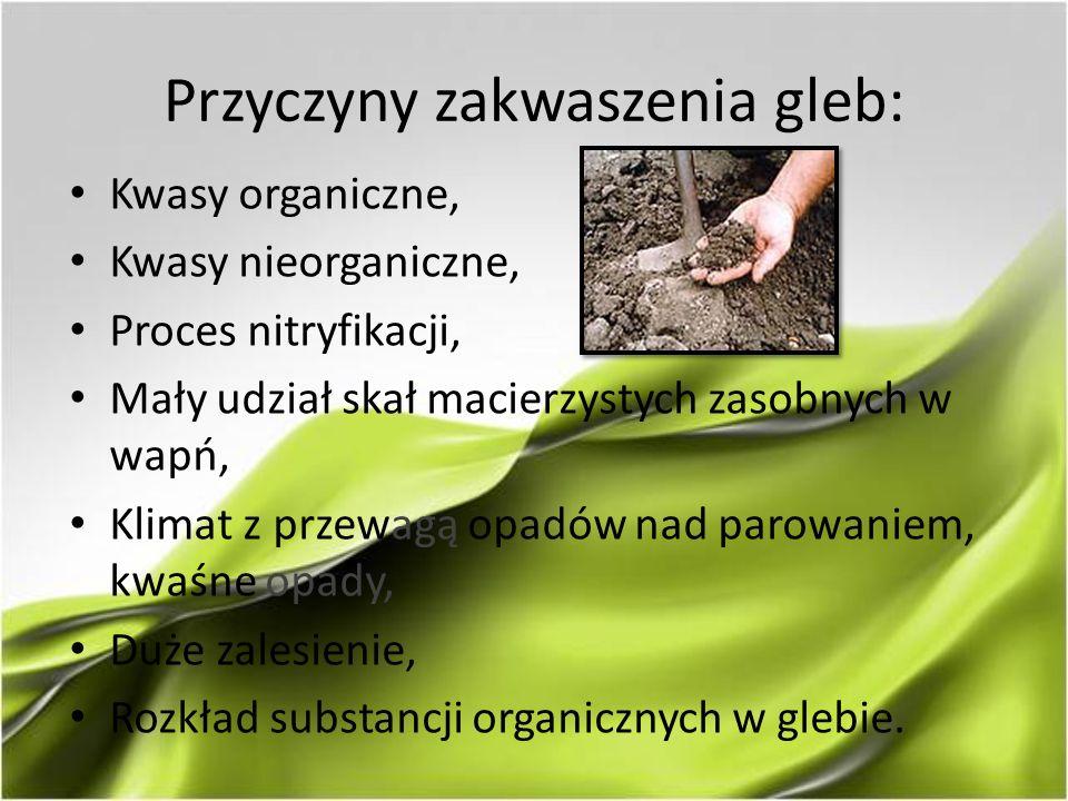 Przyczyny zakwaszenia gleb: Kwasy organiczne, Kwasy nieorganiczne, Proces nitryfikacji, Mały udział skał macierzystych zasobnych w wapń, Klimat z prze