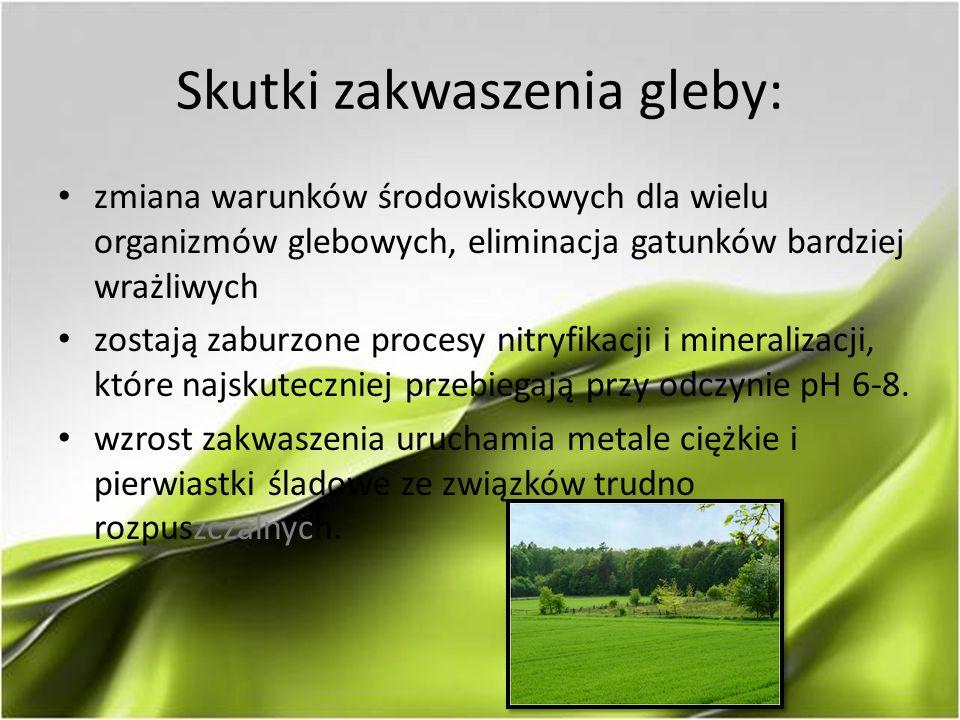 Skutki zakwaszenia gleby: zmiana warunków środowiskowych dla wielu organizmów glebowych, eliminacja gatunków bardziej wrażliwych zostają zaburzone procesy nitryfikacji i mineralizacji, które najskuteczniej przebiegają przy odczynie pH 6-8.