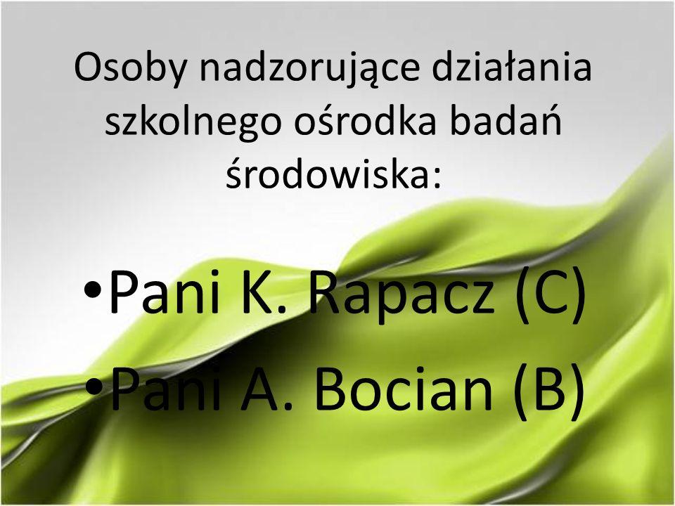 Osoby nadzorujące działania szkolnego ośrodka badań środowiska: Pani K. Rapacz (C) Pani A. Bocian (B)