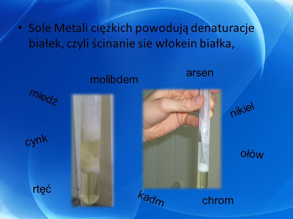 Sole Metali ciężkich powodują denaturacje białek, czyli ścinanie sie włokein białka, arsen miedź kadm ołów rtęć cynk chrom nikiel molibdem