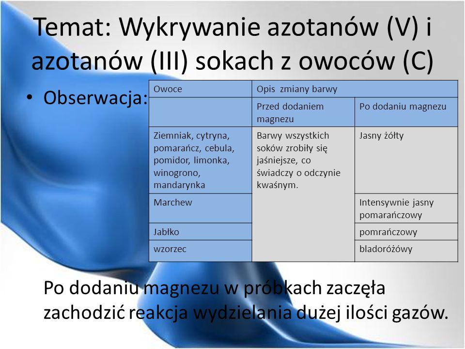 Temat: Wykrywanie azotanów (V) i azotanów (III) sokach z owoców (C) Obserwacja: Po dodaniu magnezu w próbkach zaczęła zachodzić reakcja wydzielania dużej ilości gazów.