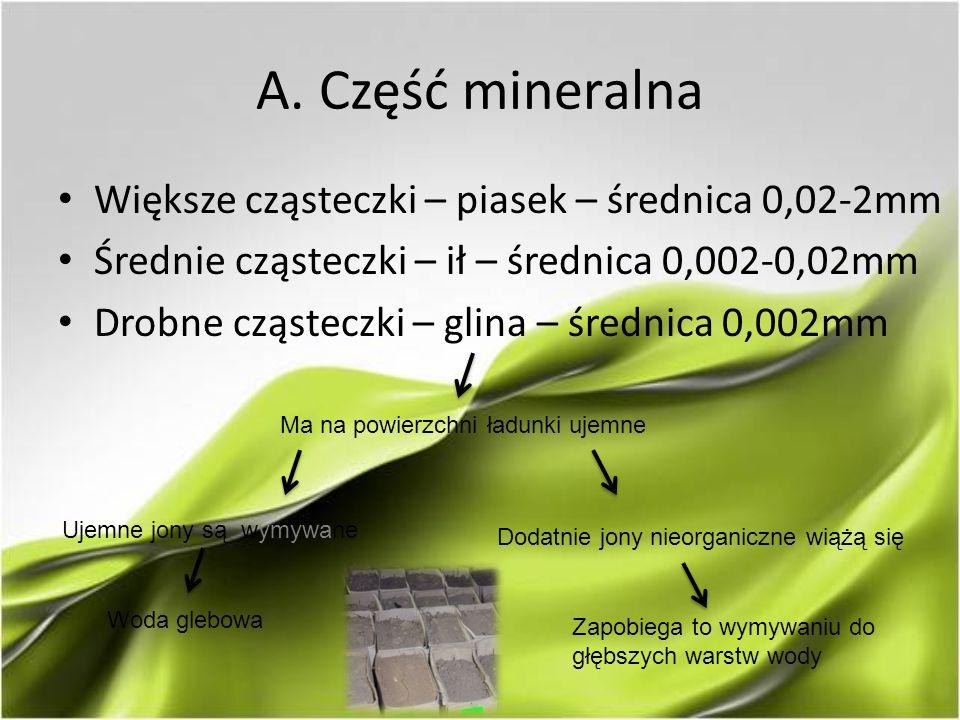 A. Część mineralna Większe cząsteczki – piasek – średnica 0,02-2mm Średnie cząsteczki – ił – średnica 0,002-0,02mm Drobne cząsteczki – glina – średnic