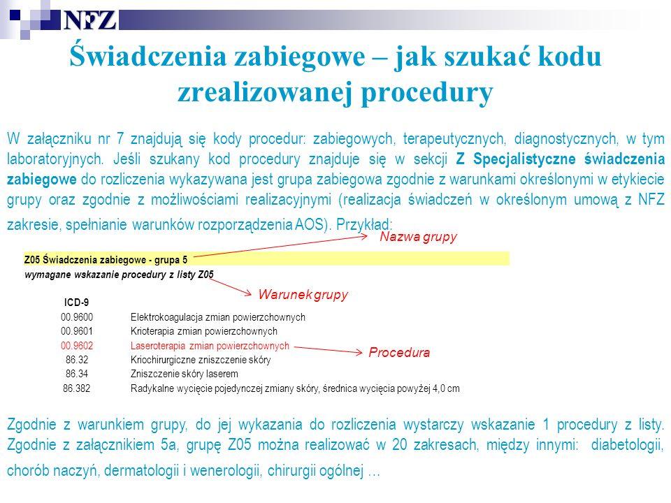 Świadczenia zabiegowe – jak szukać kodu zrealizowanej procedury W załączniku nr 7 znajdują się kody procedur: zabiegowych, terapeutycznych, diagnostycznych, w tym laboratoryjnych.