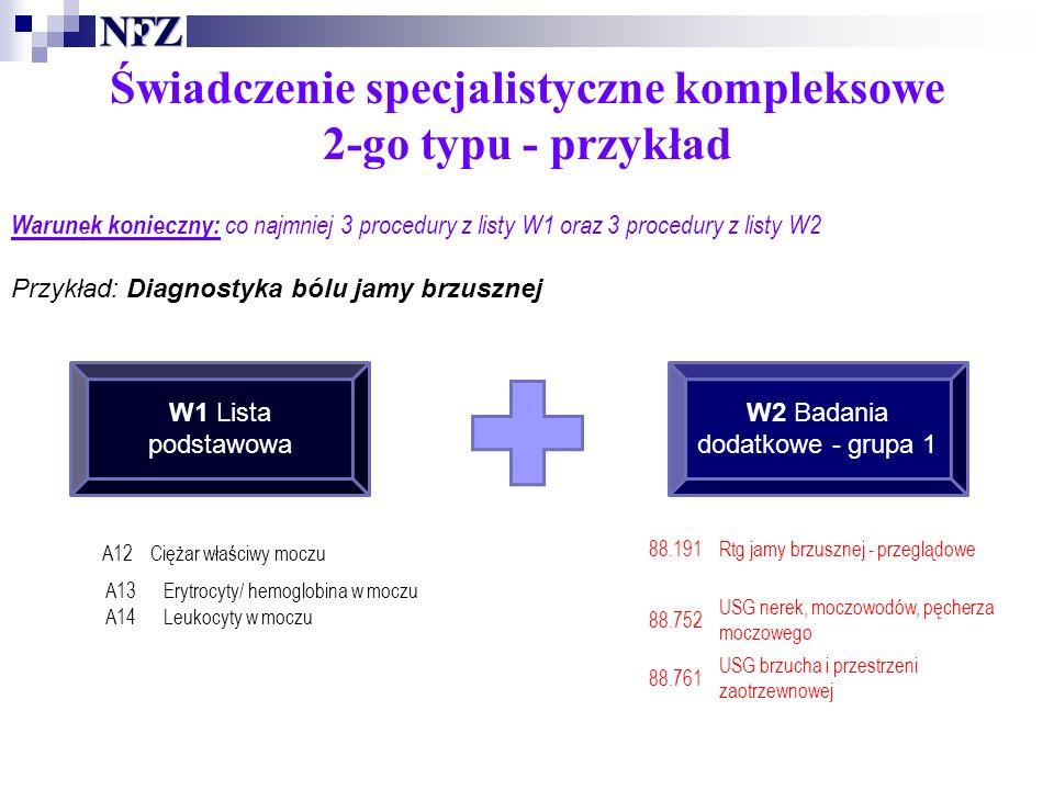 Świadczenie specjalistyczne kompleksowe 2-go typu - przykład Warunek konieczny: co najmniej 3 procedury z listy W1 oraz 3 procedury z listy W2 Przykład: Diagnostyka bólu jamy brzusznej W1 Lista podstawowa W2 Badania dodatkowe - grupa 1 A13Erytrocyty/ hemoglobina w moczu A14Leukocyty w moczu A12Ciężar właściwy moczu 88.191Rtg jamy brzusznej - przeglądowe 88.752 USG nerek, moczowodów, pęcherza moczowego 88.761 USG brzucha i przestrzeni zaotrzewnowej
