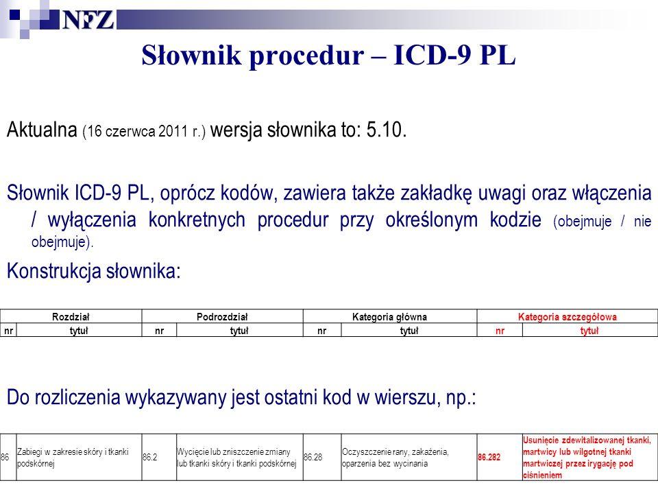 RozdziałPodrozdziałKategoria głównaKategoria szczegółowa nrtytułnrtytułnrtytułnrtytuł Słownik procedur – ICD-9 PL Aktualna (16 czerwca 2011 r.) wersja słownika to: 5.10.