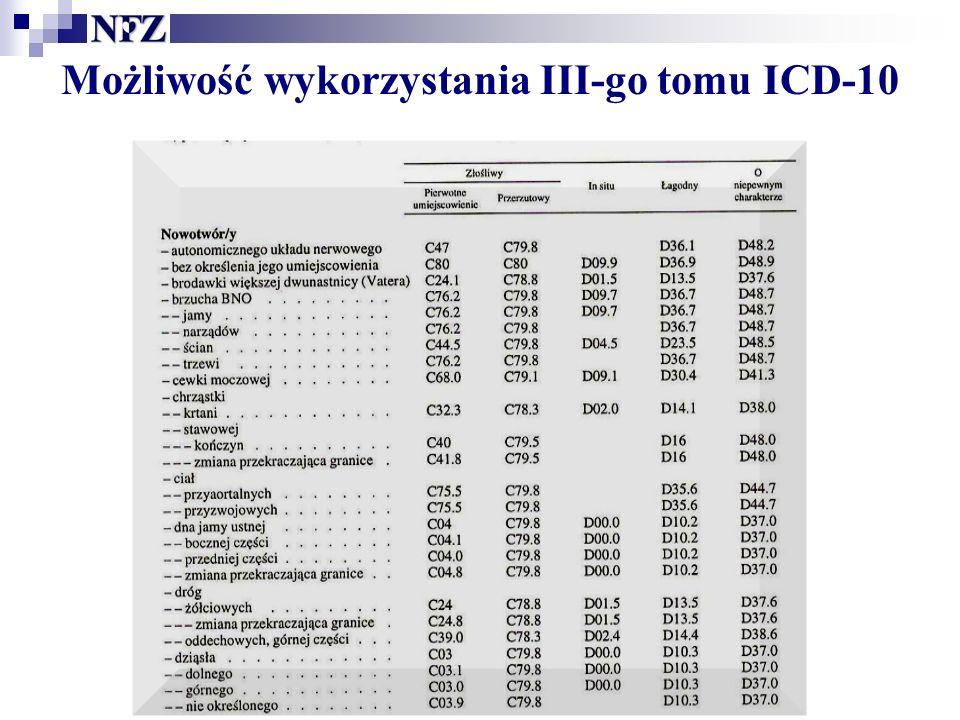 Możliwość wykorzystania III-go tomu ICD-10