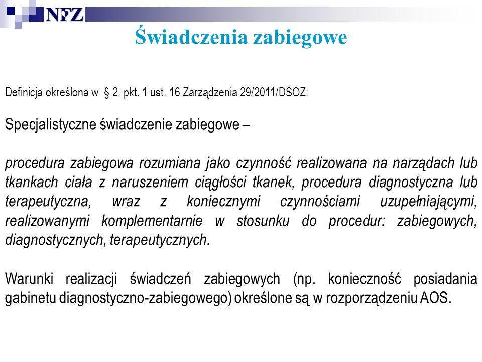 Świadczenia zabiegowe Definicja określona w § 2.pkt.