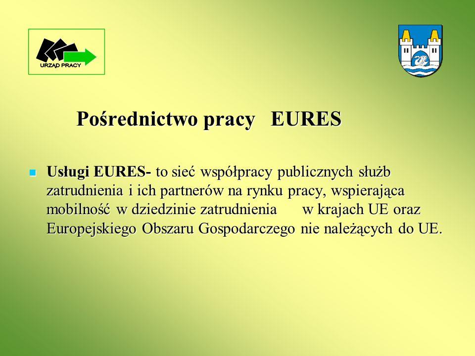 Pośrednictwo pracy EURES Usługi EURES- to sieć współpracy publicznych służb zatrudnienia i ich partnerów na rynku pracy, wspierająca mobilność w dzied