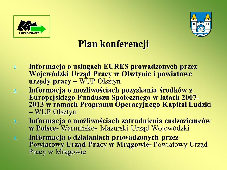 Plan konferencji 1. Informacja o usługach EURES prowadzonych przez Wojewódzki Urząd Pracy w Olsztynie i powiatowe urzędy pracy – WUP Olsztyn 2. Inform