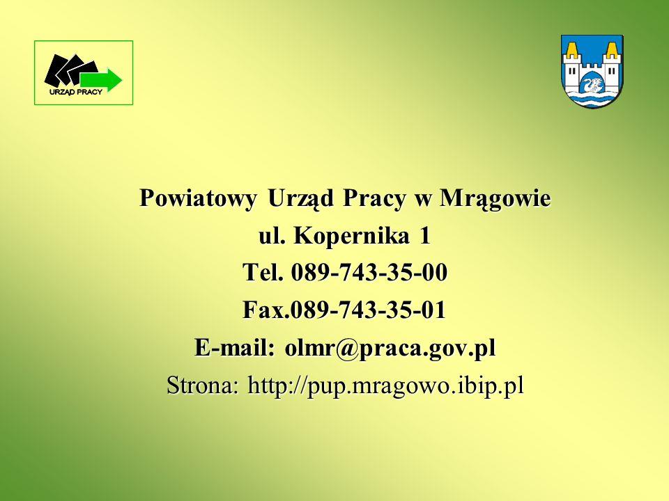 Powiatowy Urząd Pracy w Mrągowie ul. Kopernika 1 Tel. 089-743-35-00 Fax.089-743-35-01 E-mail: olmr@praca.gov.pl Strona: http://pup.mragowo.ibip.pl
