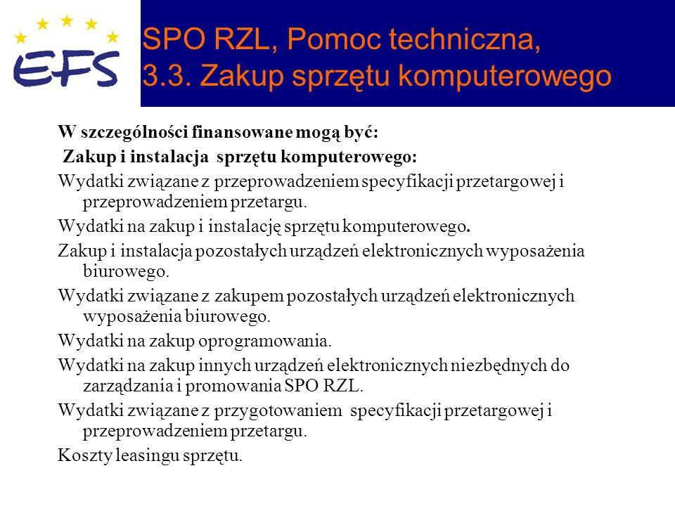 SPO RZL, Pomoc techniczna, 3.3.