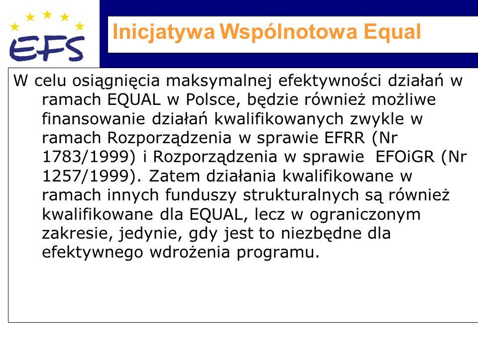 Inicjatywa Wspólnotowa Equal W celu osiągnięcia maksymalnej efektywności działań w ramach EQUAL w Polsce, będzie również możliwe finansowanie działań kwalifikowanych zwykle w ramach Rozporządzenia w sprawie EFRR (Nr 1783/1999) i Rozporządzenia w sprawie EFOiGR (Nr 1257/1999).