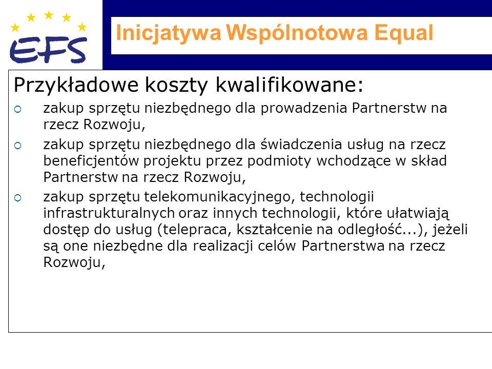 Inicjatywa Wspólnotowa Equal Przykładowe koszty kwalifikowane:  zakup sprzętu niezbędnego dla prowadzenia Partnerstw na rzecz Rozwoju,  zakup sprzętu niezbędnego dla świadczenia usług na rzecz beneficjentów projektu przez podmioty wchodzące w skład Partnerstw na rzecz Rozwoju,  zakup sprzętu telekomunikacyjnego, technologii infrastrukturalnych oraz innych technologii, które ułatwiają dostęp do usług (telepraca, kształcenie na odległość...), jeżeli są one niezbędne dla realizacji celów Partnerstwa na rzecz Rozwoju,