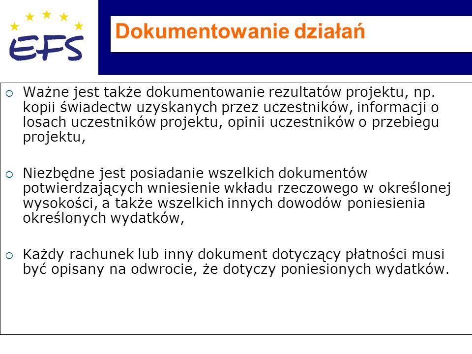 Dokumentowanie działań  Ważne jest także dokumentowanie rezultatów projektu, np.