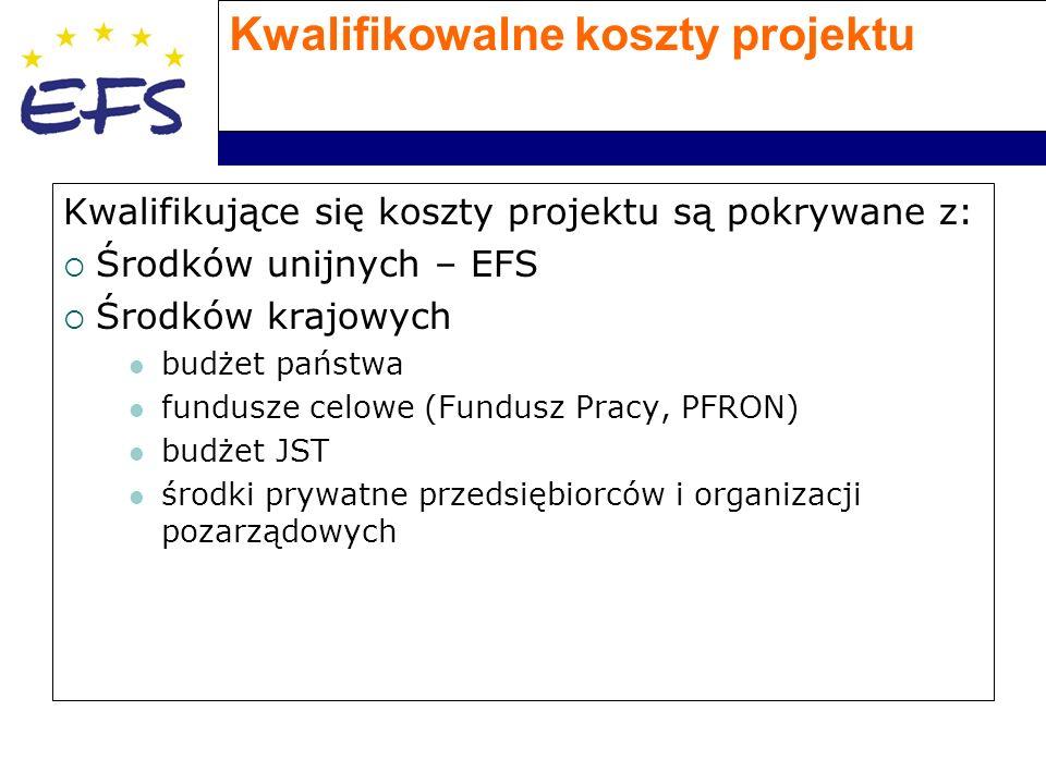 Kwalifikowalne koszty projektu Kwalifikujące się koszty projektu są pokrywane z:  Środków unijnych – EFS  Środków krajowych budżet państwa fundusze celowe (Fundusz Pracy, PFRON) budżet JST środki prywatne przedsiębiorców i organizacji pozarządowych