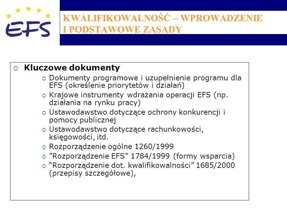 KWALIFIKOWALNOŚĆ – WPROWADZENIE I PODSTAWOWE ZASADY  Kluczowe dokumenty  Dokumenty programowe i uzupełnienie programu dla EFS (określenie priorytetów i działań)  Krajowe instrumenty wdrażania operacji EFS (np.